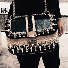 Valentino Glam lock bag with sequins and pearls details - Anastassia Krez handbags wallets - http://amzn.to/2ha3MFe