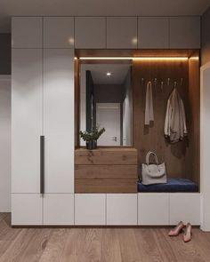 Custom Styled Homes has custom wardrobe options. Can design one precisely to your needs. Call builder on 07 5546 7400 from Brisbane to Gold Coast / Deko Modareji Home Entrance Decor, House Entrance, Entryway Decor, Home Decor, Hall Wardrobe, Wardrobe Design Bedroom, Hallway Designs, Closet Designs, Hallway Ideas