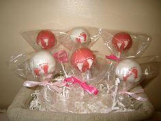 Cake pops Baby shower footprint cake pops by ViktoriasSweetBoutiq, $20.00