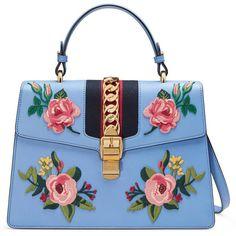 24e7bc7f0e71 Gucci Sylvie Embroidered Leather Top Handle Bag ( 2