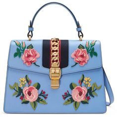 Gucci Sylvie Embroidered Leather Top Handle Bag ($2,940) ❤ liked on Polyvore featuring bags, handbags, light blue, top handles, women, leather purses, light blue purse, leather handbags, leather man bags and blue purse