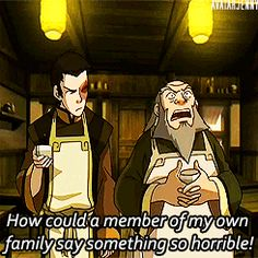 """I love this scene because Iroh doesn't disown Zuko even jokingly. Instead, he says """"you belong, but what possessed you to say something so horrid?@"""
