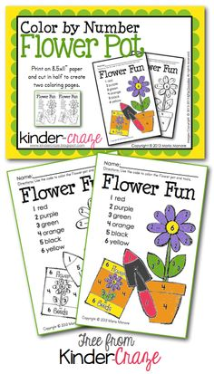 Color by Number Flower Pot - FREE