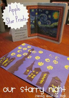 Using Apple Core Prints to create stars to recreate the Starry Night by Van Gogh.  Create a memorable art activity with kids!