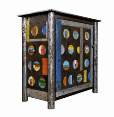 Snowball Cupboard Jim Rose  this made from steel with rust patina and found painted steel