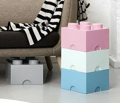 Giant LEGO Storage Blocks Design Bundle - Baby Blue, Baby Pink, Grey, White - Pastels - Medium Bricks