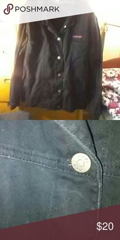 Black jean jacket, A Marykay. This black jean jacket is made especially for MaryKay sells. Wore it once, but there is one small light mark in the front middle, but if the jacket is buttoned up u can't see it the size is 3 x and all buttons have the Marykay name on them looks like puiter and has 2 deep.  pockets in front. Marykay name in front is in Pink. MaryKay Jackets & Coats Jean Jackets