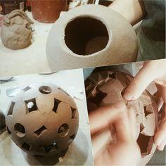 Working on a #nev #series of #raku #ceramic #lamp #lights #lighting #unfired #workshop #workinprogress La Bottega 36 #Santarcangelo