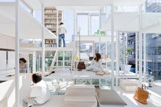 There are no internal walls in this Tokyo home, and the structure exists as a series of platforms connected by flights of stairs