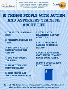 10 things people with autism/aspergers teach me about life