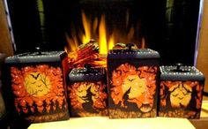 UNIQUE *VINTAGE HALLOWEEN WITCHES SOLID OAK SET OF 4* WOOD KITCHEN* CANISTERS