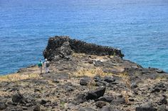 Rapa Nui / Easter Island / Isla de Pascua. Prehistoric platform on the north coast of the Island, west of Anakena Bay. Rapa Nui Archaeology (5). Photo: Mike Seager Thomas, UCL Rapa Nui Landscapes of Construction Project. You are welcome to use/ circulate the photo but please credit it to the project