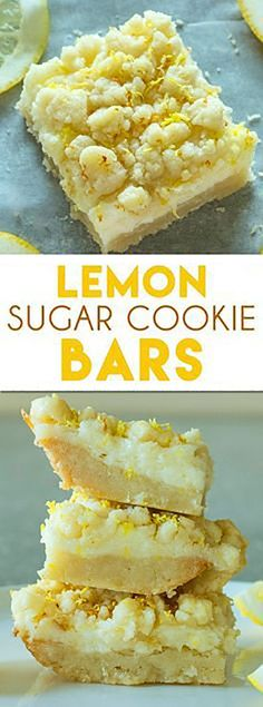Lemon Sugar Cookie Bars: These lemon bars are one of the best easy to make lemon desserts! They have a sugar cookie crust and tangy lemon cheesecake filling! #lemoncookie #cookiebars #cookierecipes | allrecipes.fun