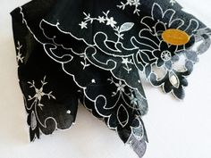 Vintage Ladies Black Mourning Hankie Swiss Embroidered Cutwork Handkerchief Tag