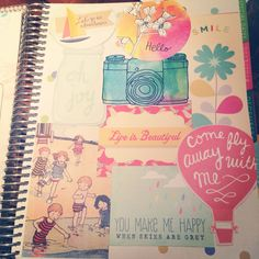 "Used lots of fun stuff to cover up the ""Erin Condren"" logo page in my life planner"