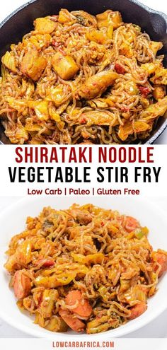 Shirataki noodle vegetable stir fry is a keto and low carb nutrient-dense meal made with high fiber, zero-calorie shirataki noodles. Just 11 net carbs! Low Carb Noodles, Shirataki Noodles, Pasta Noodles, Low Carb Dinner Recipes, Healthy Recipes, Keto Recipes, Keto Dinner, Sin Gluten, Stir Fry Low Carb