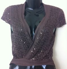 New - Womens Zingara Brown Crochet Sequin Knit Sleeveless Shrug w Ties Size 12