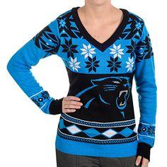 NFL Women's V-Neck Sweater, Carolina Panthers, Large Klew