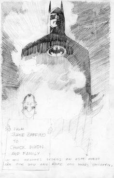 Alex Chung, Batman sketch by Jorge Zaffino for Chuck Dixon