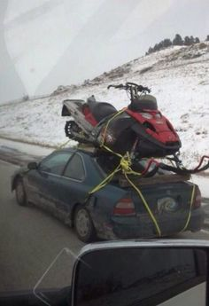 Some people will do anything for snowmobiling!