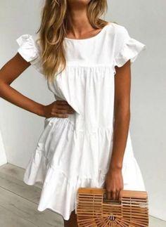 Floryday - Las Mejores Ofertas en Venta En Línea de Lo Último en Moda para Mujeres White Baby Dress, Little White Dresses, Sundress With Sleeves, Ruffle Cake, Dress Cake, Party Dresses For Women, Short Sleeve Dresses, Outfits, Clothes