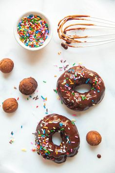 Devil's Food Cake Donuts with Rainbow Sprinkles | The Baking Bird
