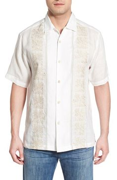Tommy Bahama Tommy Bahama 'Fiji Tides' Regular Fit Embroidered Linen Camp Shirt available at #Nordstrom