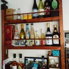 m__mtmtさんの、棚,DIY,お酒大好き♡,2×4,バー風,お酒コーナー,ツーバイフォー材,ラブリコ,ラブリコ ディアウォール DIY,のお部屋写真