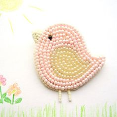 How cute is this? Pink Bird Kid's Brooch - Kamart Design on Etsy - Beadworthy