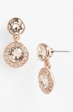 Rose gold pave drop earrings - love love love