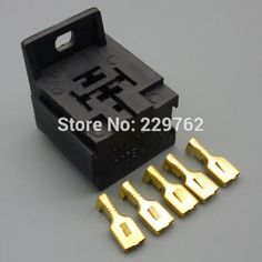 50Sets 6.3MM car Relay Mount Holder Base suit 4 pin 5 pin automotive relays connector plug Car relay socket Terminals 12V 24V