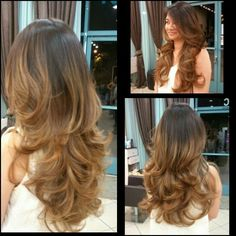 Ombré and layered haircut with Blowdry Haircuts For Long Hair With Layers, Haircut For Thick Hair, Long Layered Hair, Layered Haircuts, Long Hair Cuts, Long Hair Styles, Permanent Curls, Glamour, Hair Dos