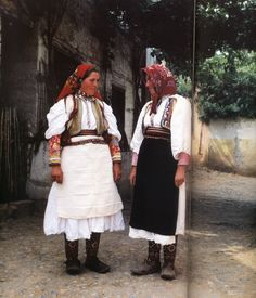 Albanian Folk Costumes - Veshje Popullore Shqiptare. Bridal and girl dress. Lin. End of XIX century.