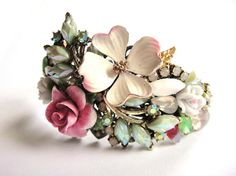 Bridal bracelet romantic pastel vintage collage in mint and pink - wedding jewelry - bridesmaids gift