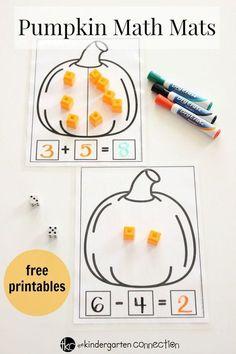 Pumpkin Math Mats-Fall addition and subtraction activity for preschool and kindergarten