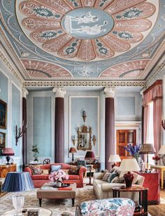 In a four-story apartment at England's Burley on the Hill, interior designer Mark Gillette created an elaborate painted ceiling in the drawing room in dusty pinks and pale blues (Architectural Digest) Pantone 2016, Pantone Color, Deco Rose, Rose Quartz Serenity, Serenity Color, Apartment Renovation, Country Estate, Neoclassical, Color Of The Year
