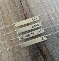 Personalized Sterling Silver Bar Necklace / Silver Name Plate Bar Necklace / Delicate Layering Custom Silver Bar Necklace / Hand Stamped by JewelryVV on Etsy https://www.etsy.com/listing/241276499/personalized-sterling-silver-bar