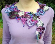 Freeform crochet collar - Pinner said- I saw this in person at a conference and…