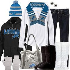 Detroit Lions Womens Hooded Sweatshirt - Charcoal Lions Brushed ...