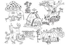 Vector Forest Houses Set Graphics Black and White Forest Houses Clipart - Digital Vector Pumpkin, Amanita, Mushroom, Hill, Tree, House by Tanita_B
