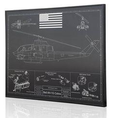 Bell AH-1G Cobra Blueprint Artwork Diagram on Anodized Aluminum
