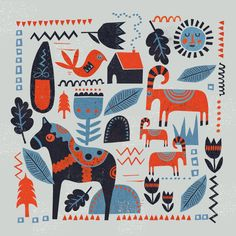 scandinavian design, dala horse, goat, christmas, pattern, print, lino, winter, colour, illustration