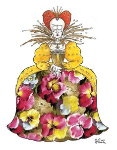 Queen Elizabeth I. The third Important Woman in History I decided to portray in a french floral pattern.