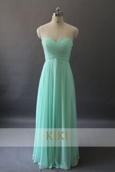 Mint green long prom/party/evening/bridesmaid/dress chiffon with frills and lace floor length