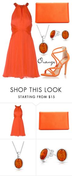 """Orange"" by missloulouxx ❤ liked on Polyvore featuring Matthew Williamson, Schutz, Giorgio Armani and Bling Jewelry"