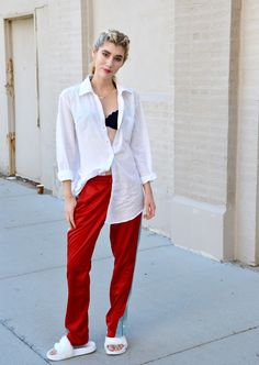 How to style track pants.  Street Style inspired Outfits.  More outfit inspiration on Mermaid Waves.