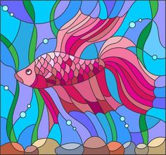 Illustration of Illustration in stained glass style with red fighting fish on the background of water and algae vector art, clipart and stock vectors. Stained Glass Paint, Stained Glass Panels, Stained Glass Patterns, Mosaic Glass, Glass Art, Pink Fish, Arte Pop, Fish Art, Happy Colors