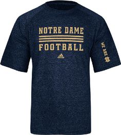 Notre Dame Fighting Irish Sidelines Evade Heather Blue Climalite SS Shirt by Adidas $31.95