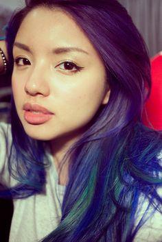 ble purpleombre hair color | Purple-Blue Ombré Hair with Turquoise Streaks | Evonnz