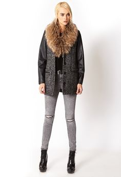 The perf outfit for this wet weather.  Foax Fur , Skinnys, leather boots and jackets. x  x